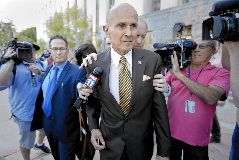Former Los Angeles County Sheriff Lee Baca outside court in Los Angeles after pleading guilty Wednesday to lying to federal investigators.