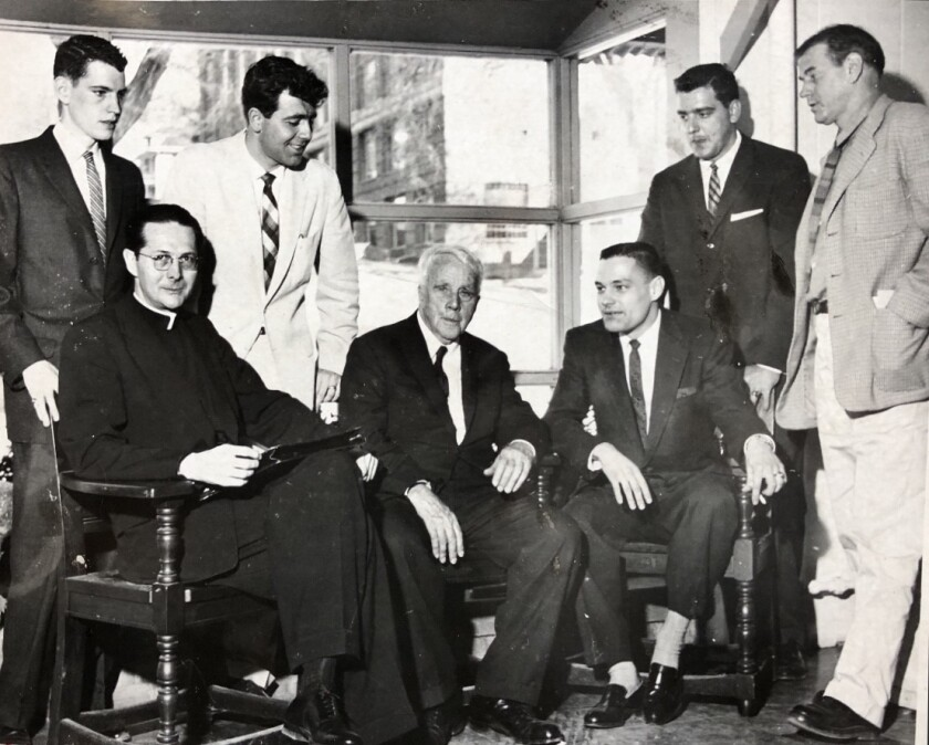 Robert Frost (seated, center) at the 1959  Iowa Writers' Workshop