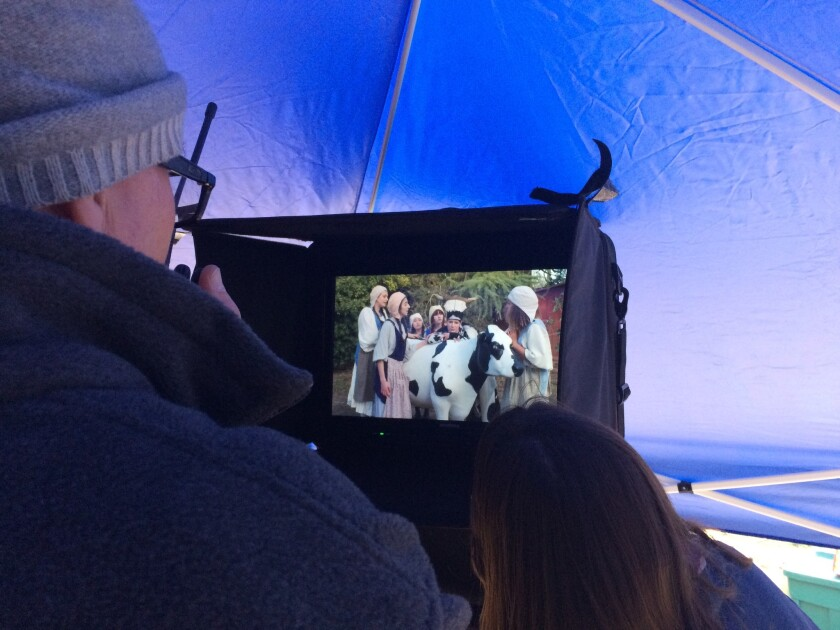"Director Charles Otte oversees a scene from ""Vireo"" in a production tent in"