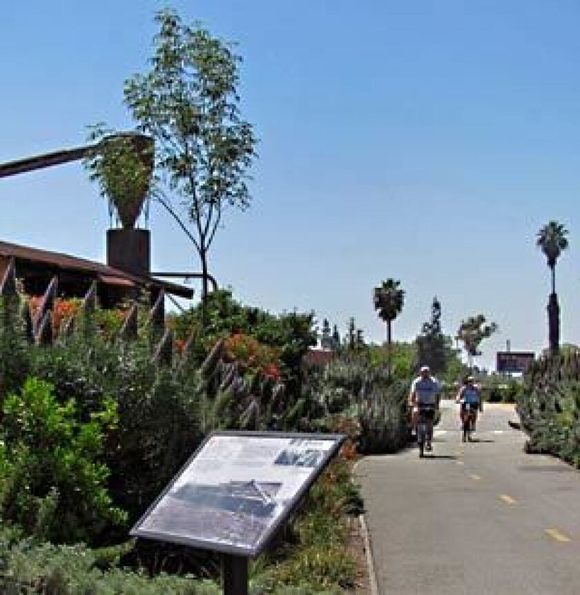 The Whittier Greenway Trail begins just off Interstate 605 and runs mostly parallel to Whittier Boulevard.