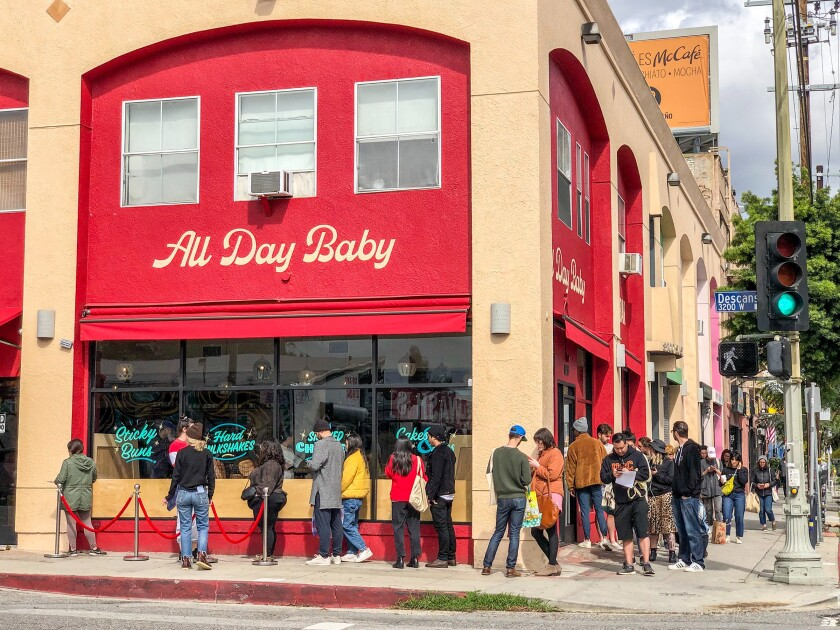 The line outside All Day Baby in Silver Lake on March 17, 2020.