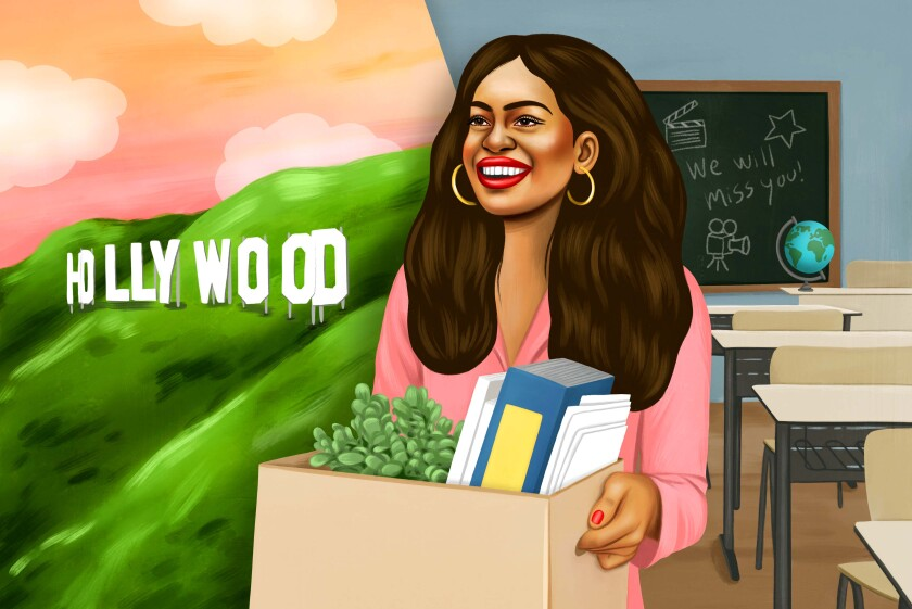 Illustration shows a teacher leaving a classroom to pursue a Hollywood dream.