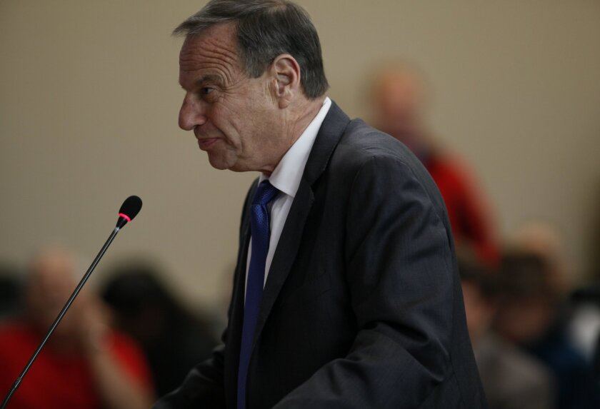 San Diego Mayor Bob Filner, speaking at Public Utilities Commission hearing Thursday, awaits a hearing Friday on the Tourism Marketing District lawsuit against him.