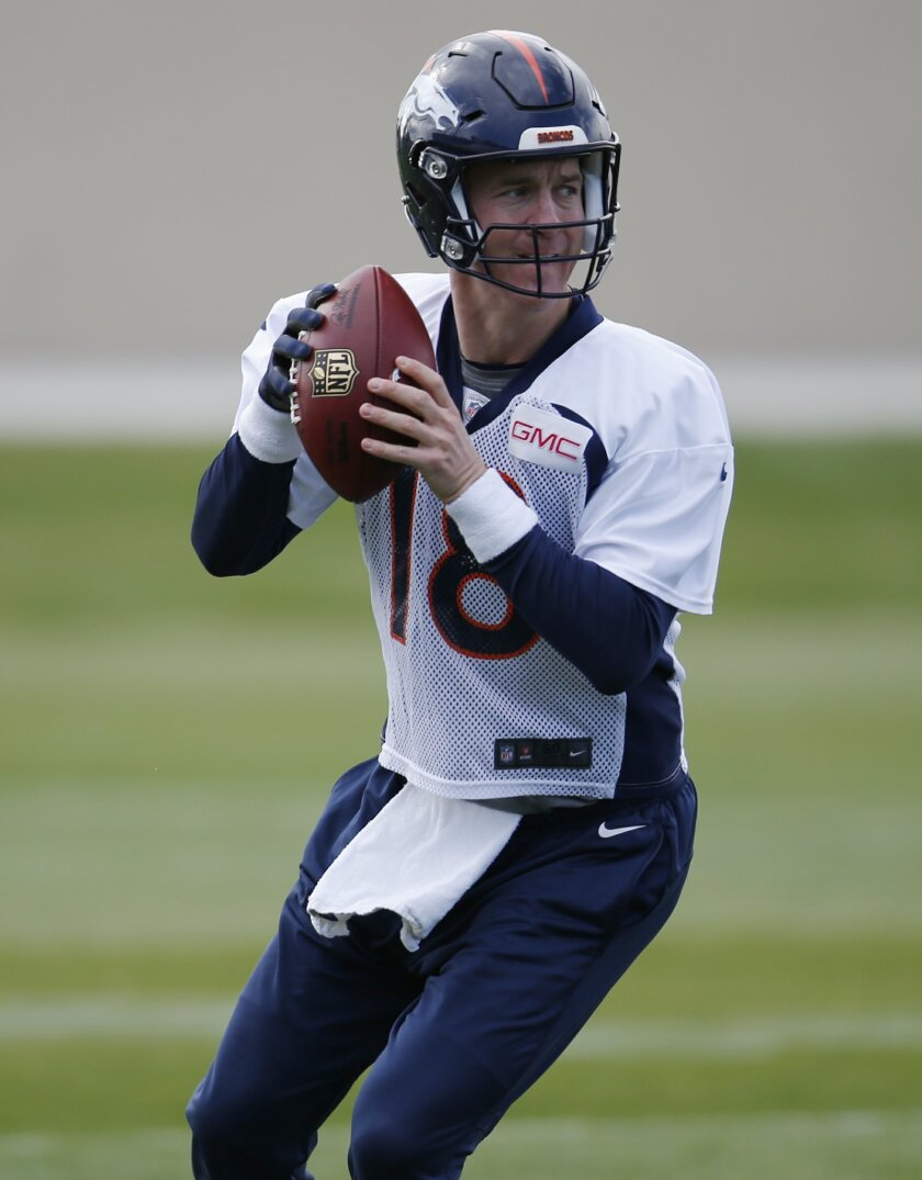 Denver Broncos quarterback Peyton Manning looks to pass during an NFL football practice session at the team's headquarters Wednesday, Nov. 4, 2015, in Englewood, Colo. (AP Photo/David Zalubowski)