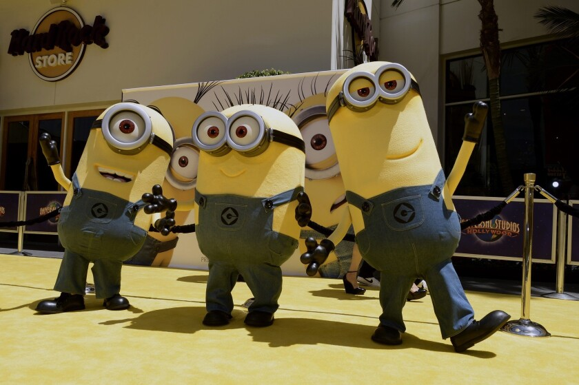 """Minions arrive for the U.S. premiere of """"Despicable Me 2"""" at Universal City Walk in Universal City, California."""
