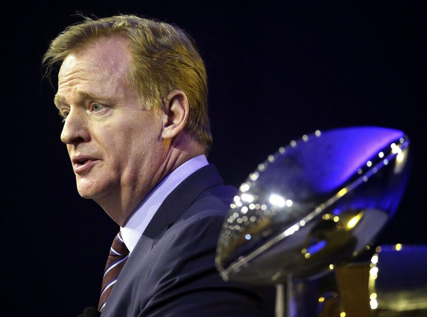 FILE - In this Friday, Feb. 5, 2016, file photo, NFL Commissioner Roger Goodell speaks to the media during a news conference in San Francisco. (AP Photo/Charlie Riedel)