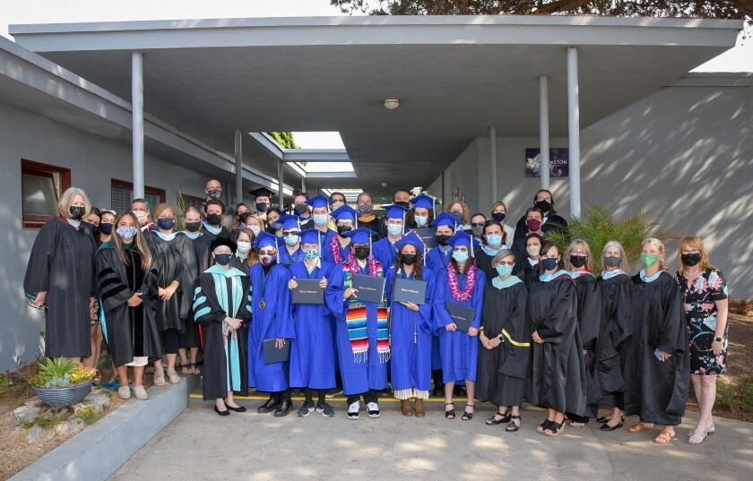 Winston School students and staff pose at the school's graduation on June 16, 2021.