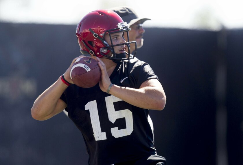 San Diego State quarterback Nick Bawden in practice.