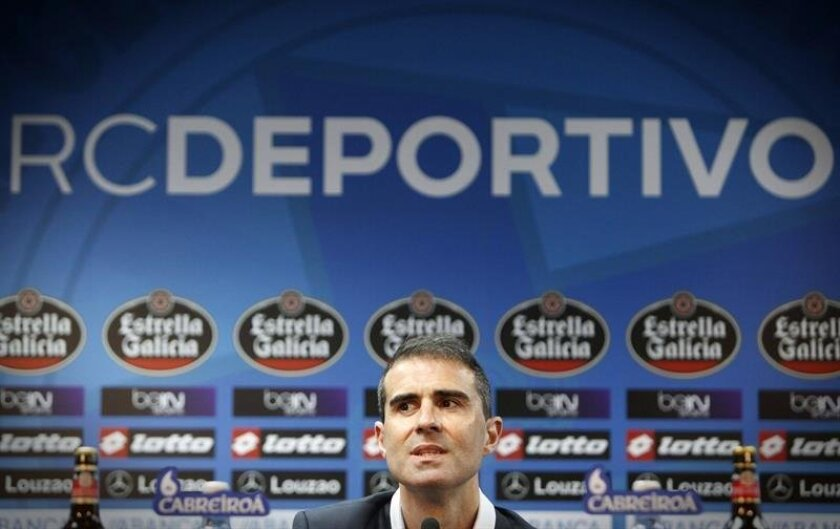 Newly appointed La Coruña coach Gaizka Garitano during his presentation in A Coruña, Spain, June 10, 2016. EFE