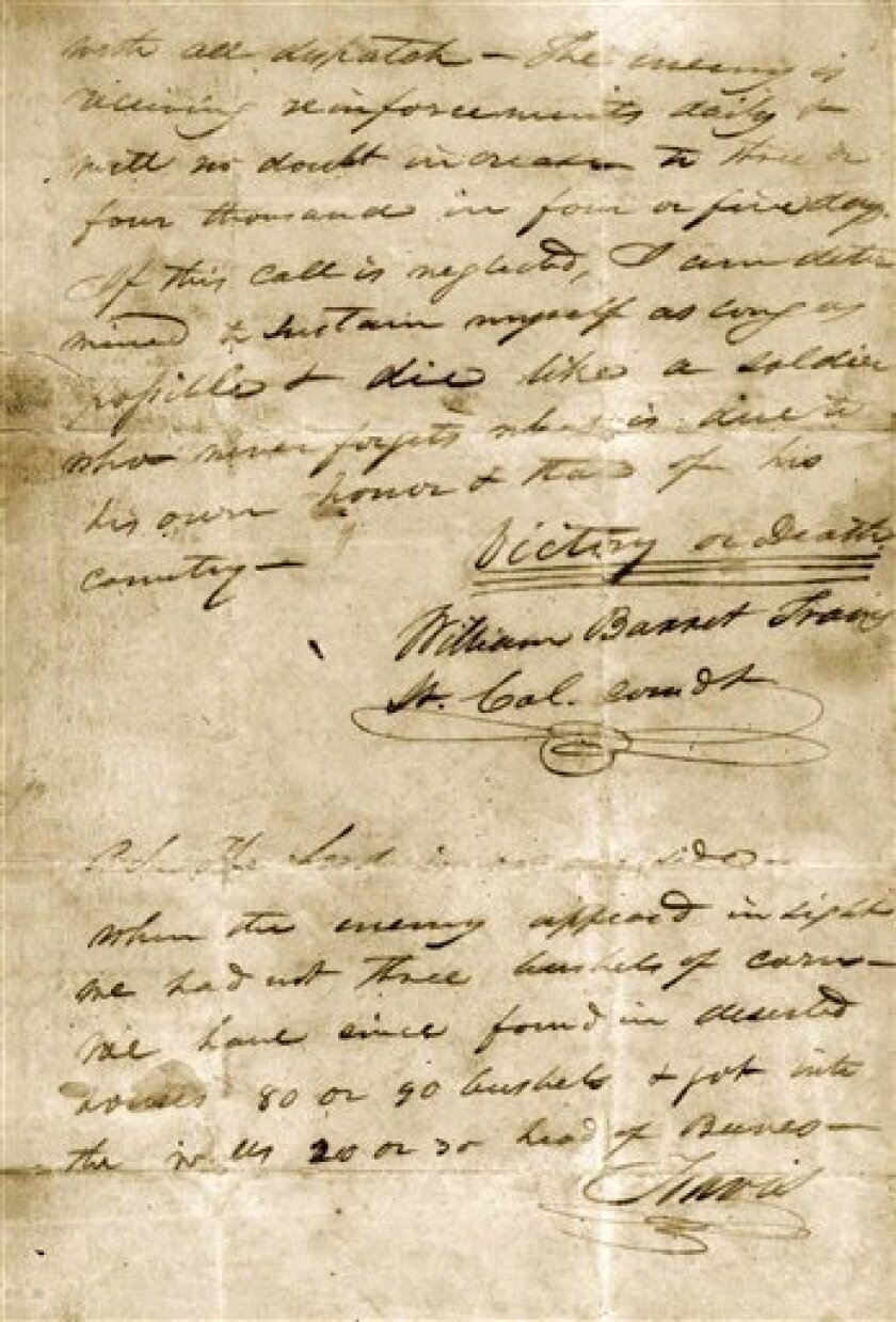 """This undated image provided by the Texas State Library and Archives Commission shows a portion of the """"victory or death"""" letter written by William Barret Travis from the Alamo on Feb. 24, 1836. (AP Photo/Texas State Library and Archives Commission)"""