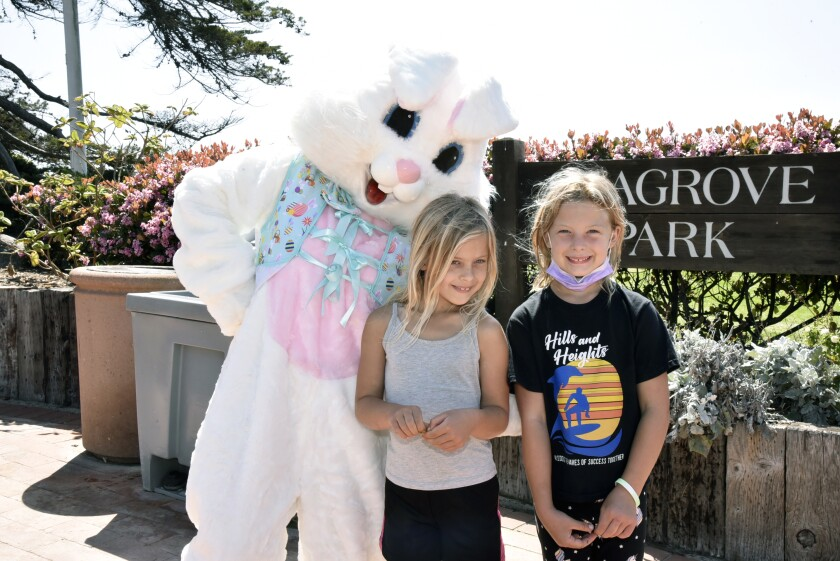 Emily and Kalee with the Easter bunny