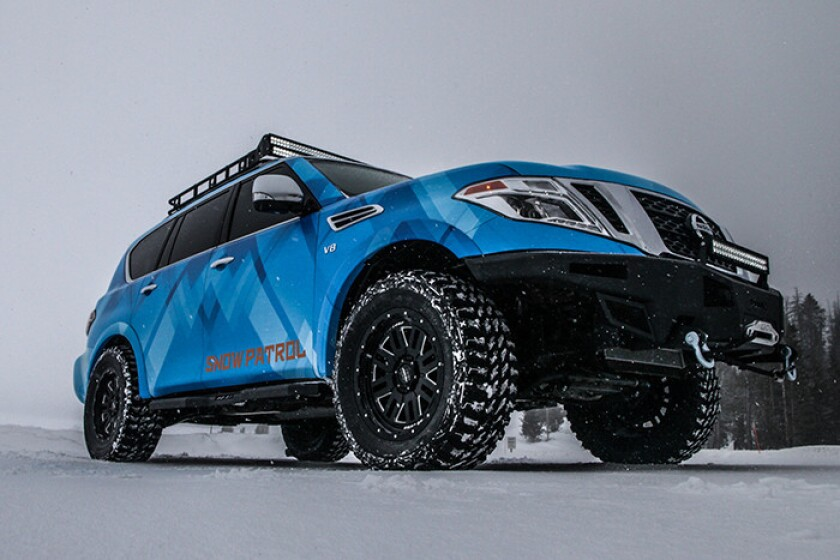 The Nissan Armada Snow Patrol takes Nissan's flagship SUV to new heights – literally. With its three-inch suspension lift, extreme off-road tires, massive front bumper, light bar and roof rack, the one-off Snow Patrol project takes Armada out of the carpool line and onto snow covered mountains – returning Armada to its roots as an adventure-ready off-roader.
