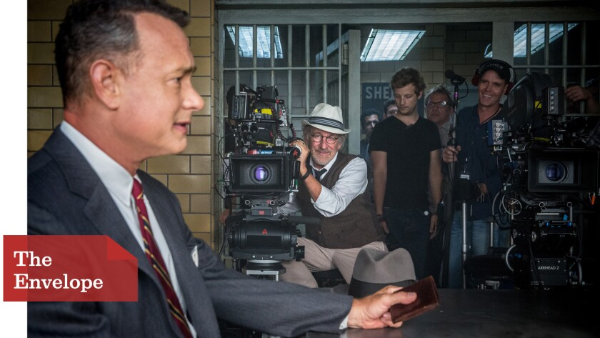 "Director Steven Spielberg works with Tom Hanks on ""Bridge of Spies"""