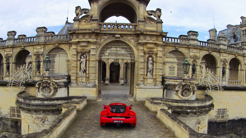 A scene filmed at France's Chateau de Chantilly from the Flying Dreams flying theater ride at the re