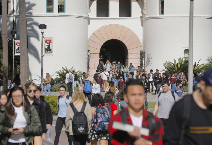 Students on the campus of San Diego State University.