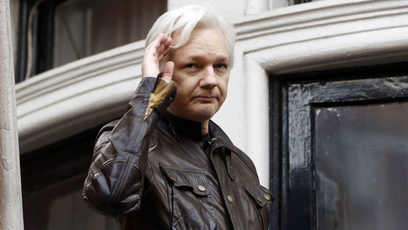 WikiLeaks founder Julian Assange on a balcony of the Ecuadorian Embassy in London in 2017.