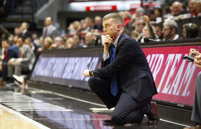 USD men's basketball coach Sam Scholl has a big rebuilding job on his hands this season.