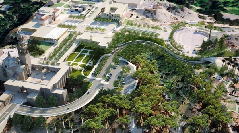 Besides changes to the Plaza de Panama and El Prado, the plan calls for a bypass bridge off the Cabrillo Bridge to detour traffic through the Alcazar Garden parking lot and on toward the new garage.