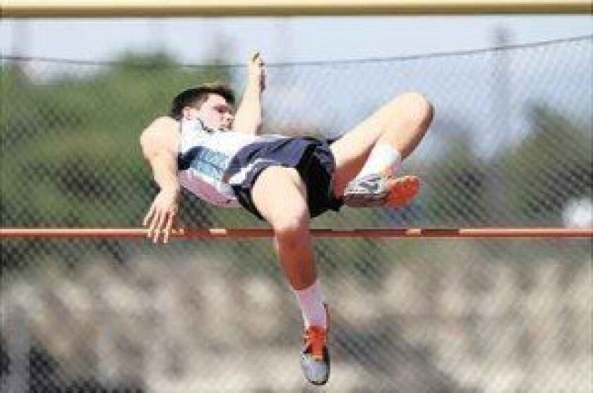 Del Norte sophomore Cameron Hepworth, who has never competed in track and field before this season, set the school record in the high jump with a leap of 6-5 on May 3 at the Dick Wilkins Frosh-Soph Invite. Photo by Sherri Cortez