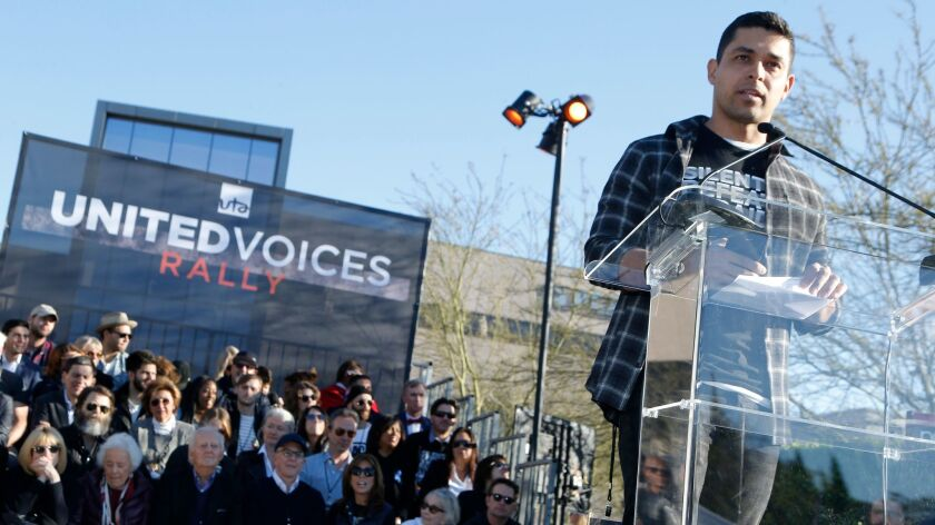 Wilmer Valderrama speaks at a rally organized by United Talent Agency in Los Angeles.