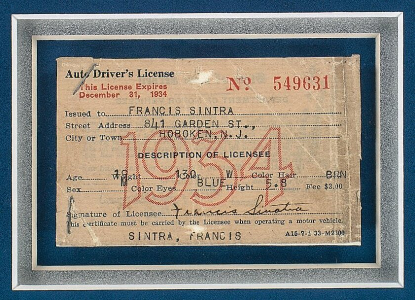 Frank Sinatra's first driver's license