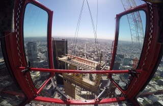 On top of the Wilshire Grand -- soon to be the tallest building west of the Mississippi