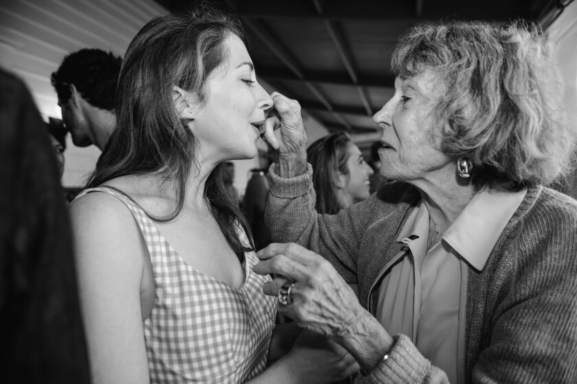 "Bobby Bell fixing Bess Kalb's makeup. Comedian Kalb immortalizes her late grandmother in her first book, ""Nobody Will Tell You This but Me."""
