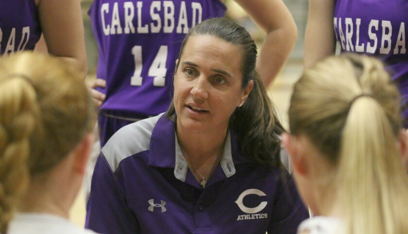 Carlsbad girls' basketball coach Donna Huhn