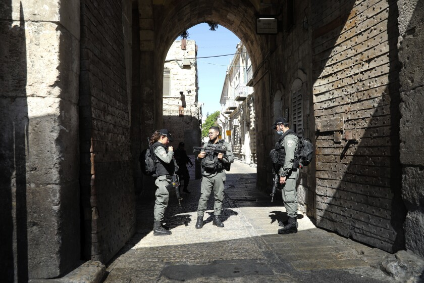 Israeli security officers secure an area in Jerusalem's Old City.