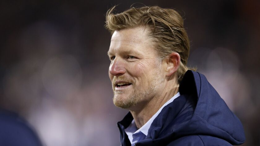 General Manager Les Snead of the Rams watches warm-ups prior to the game against the Chicago Bears at Soldier Field on December 9, 2018 in Chicago, Illinois.