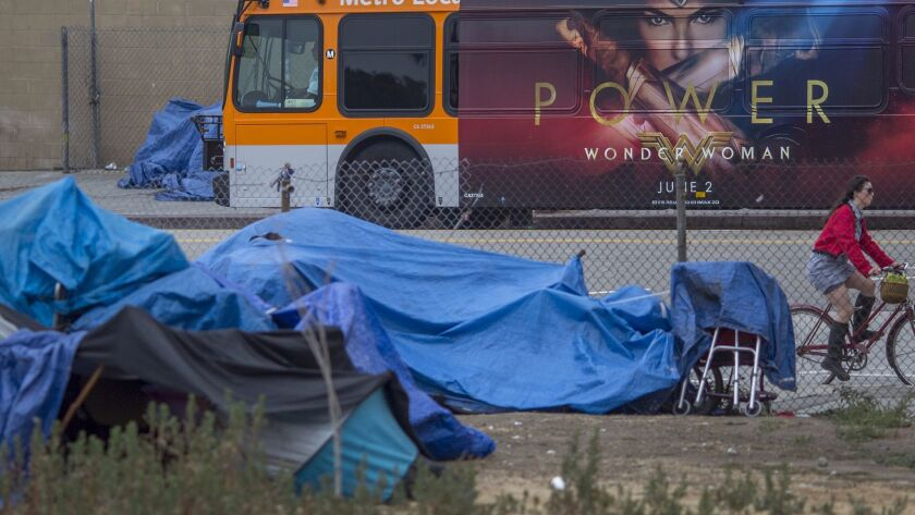 County supervisors approved a spending plan Tuesday for Measure H sales tax funds that will be used to combat homelessness. Above, an encampment in Los Angeles.