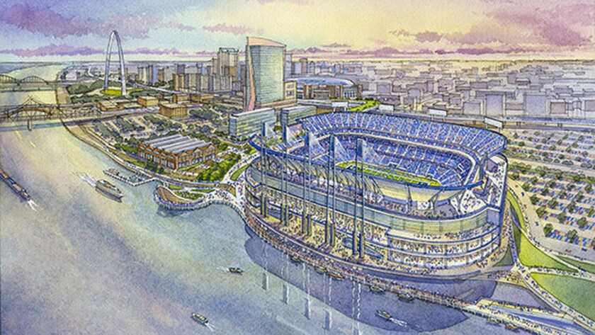 A rendering of a proposed football stadium looking southwest toward downtown St. Louis.