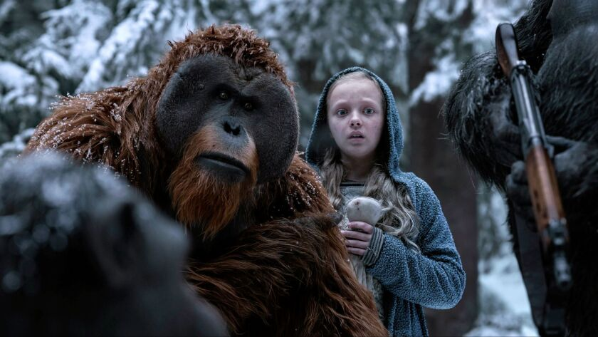 The orangutan Maurice is portrayed by Karin Konoval, shown in a scene with young actress Amiah Mille