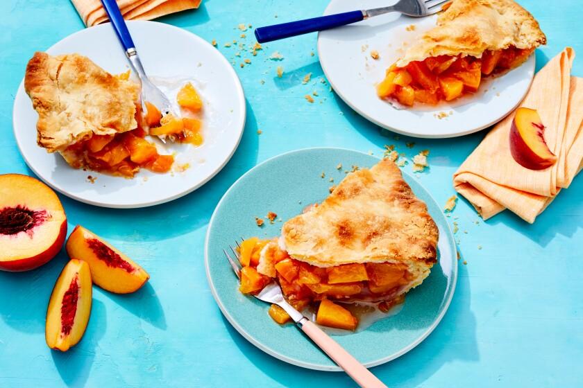 Peach pie with duck fat crust.