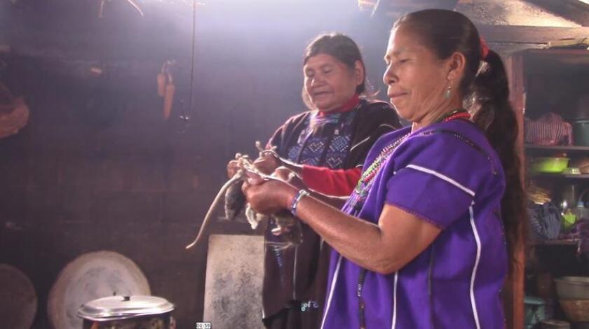 Fotograma en donde se observa a dos mujeres preparandose para conicnar la tse'j. EFE/MÁXIMA CALIDAD DISPONIBLE