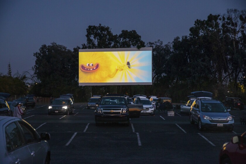 """A screening of """"Trolls World Tour"""" at the Mission Tiki Drive-in Theatre in Montclair. Drive-ins may enjoy a resurgence as a way to enjoy movies without the hassle of social distancing and sanitation measures."""