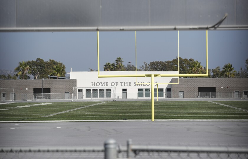 An empty Davidson Field, home field for the Newport Harbor and Corona del Mar high football programs, is shown Tuesday.