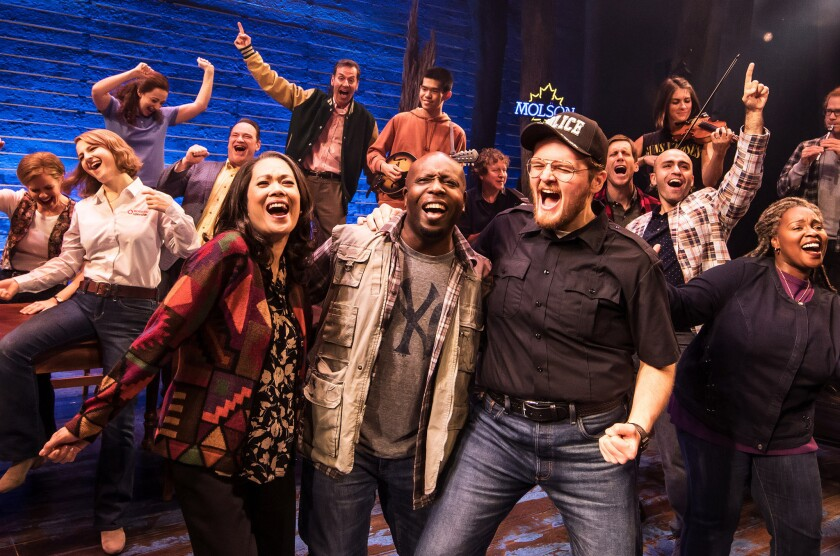 """The Company of the First North American Tour of """"""""Come From Away,"""" which runs Nov. 28 through Jan. 6, 2019 at Center Theatre Group/Ahmanson Theatre in Los Angeles, CA."""
