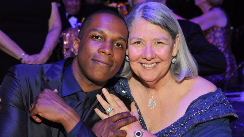 Leslie Odom, Jr. and philanthropist Darlene Marcos Shiley get together at the Old Globe after-gala party.
