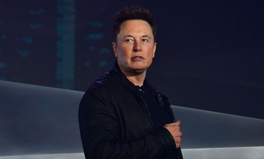Tesla co-founder and CEO Elon Musk at a product unveiling in 2019.