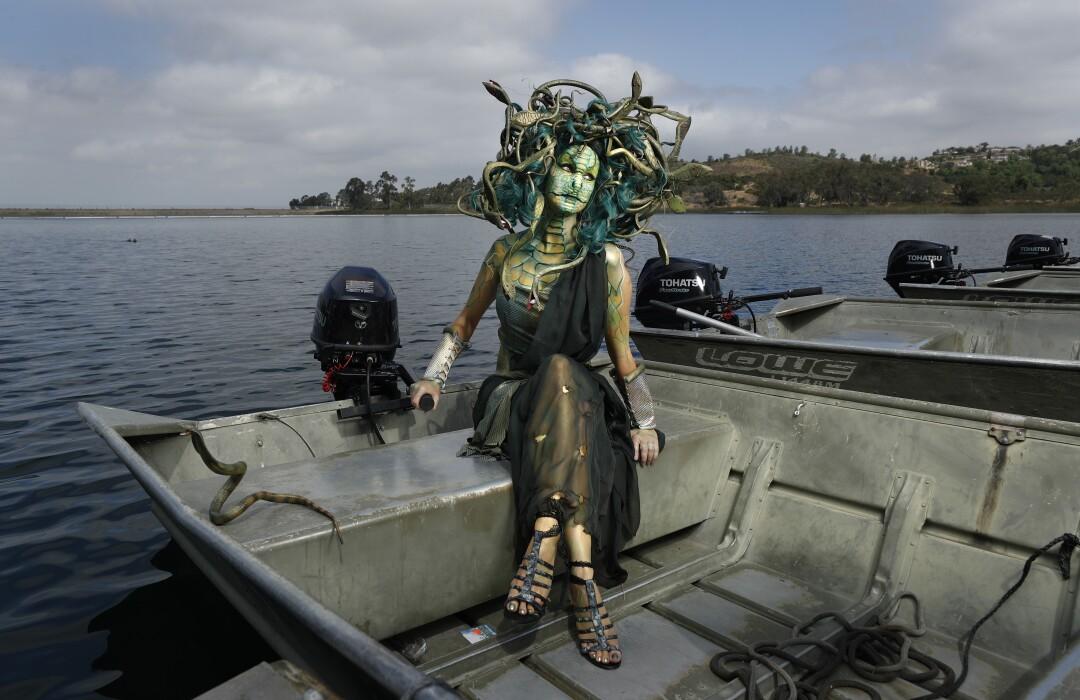 Sheila Noseworthy dressed as Medusa at Lake Miramar.