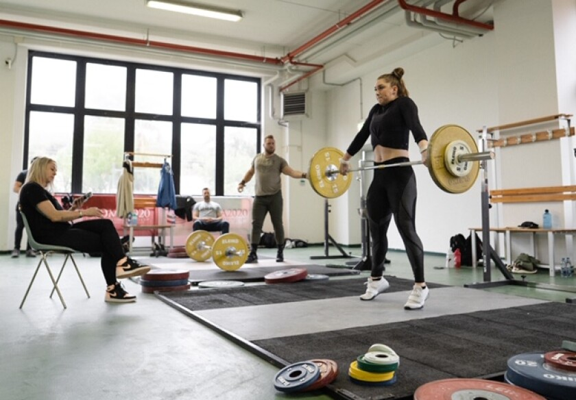 U.S. Olympic weightlifting hopeful Mattie Rogers training in early 2020.