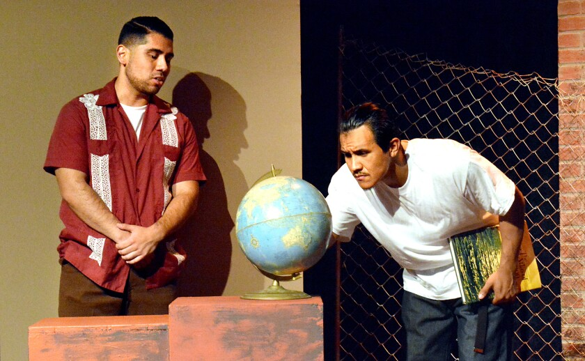 """Luis (Rufino Romero), right, has a mentor and friend in Chente (Joshua Nicholas) in """"Always Running"""" at Casa 0101 Theater."""