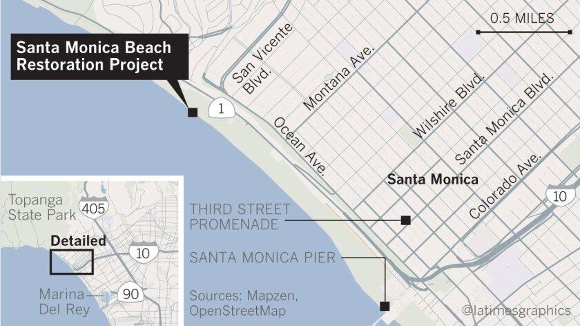 Location of the Santa Monica Beach restoration project
