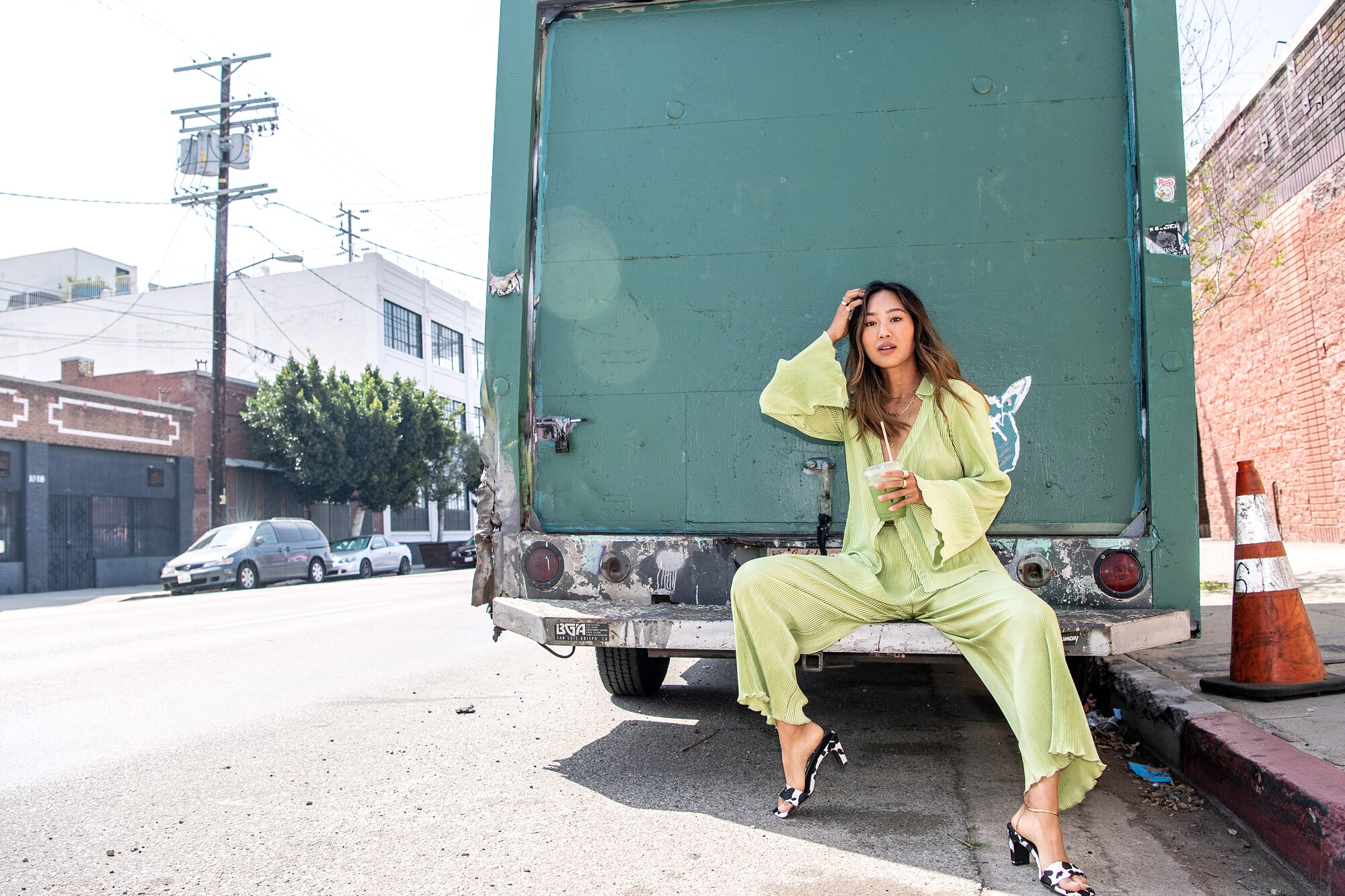 Fashion blogger-turned-designer Aimee Song in the Arts District in downtown Los Angeles.