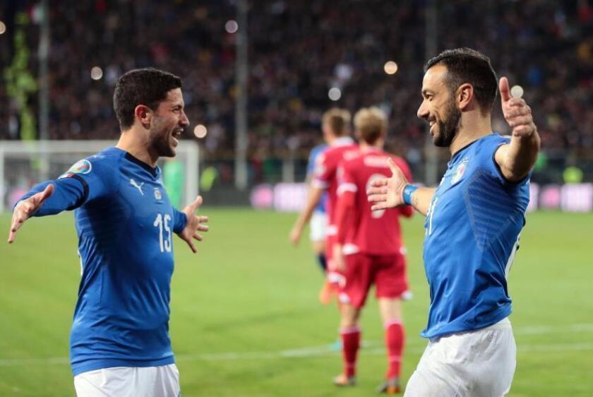 Fabio Quagliarella de Italia celebra un gol en un partido del grupo J de la fase de clasificación para la Eurocopa 2020 este martes entre Italia y Liechtenstein, en el estadio Ennio Tardini en Parma (Italia). EFE