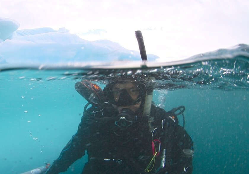 San Diego State biologist Forest Rowher swims near an iceberg minutes before and cracked and nearly fell on him.
