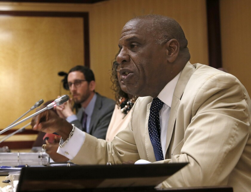 FILE - In this April 23, 2019 file photo, Democratic state State Sen. Steven Bradford, D-Compton, speaks during a hearing at the Capitol in Sacramento, Calif. On Wednesday, Sept. 8, 2021, California lawmakers sent Gov. Gavin Newsom Bradford's bill, SB2, that would create a mandatory new state license, or certification, that could be revoked so bad law enforcement officers cannot simply move to another department. (AP Photo/Rich Pedroncelli, File)