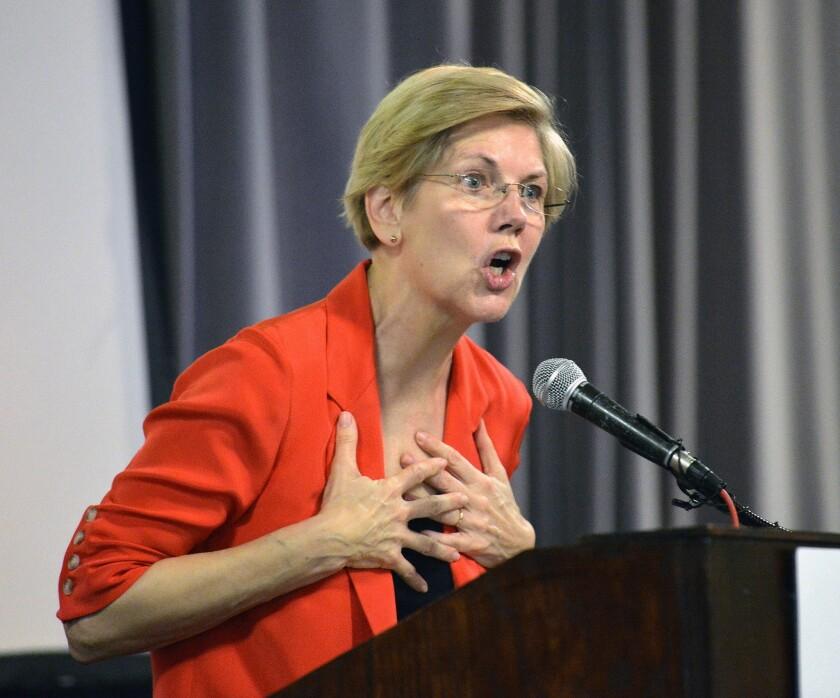 Sen. Elizabeth Warren (D-Mass.) speaks to supporters at a rally in June.
