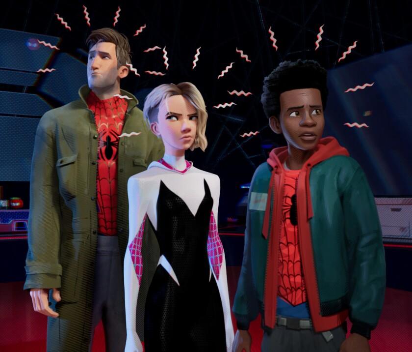 Peter Parker (Jake Johnson), Gwen Stacy (Hailee Steinfeld) and Miles Morales (Shameik Moore) in Sony